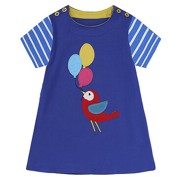 45ba27a3bc Animal Pattern Baby Girl Toddler Summer Short Sleeve Cotton Dresses For  0Y-6Y