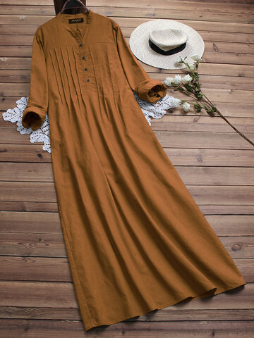 Vintage Solid Color Cotton Shirt Dress