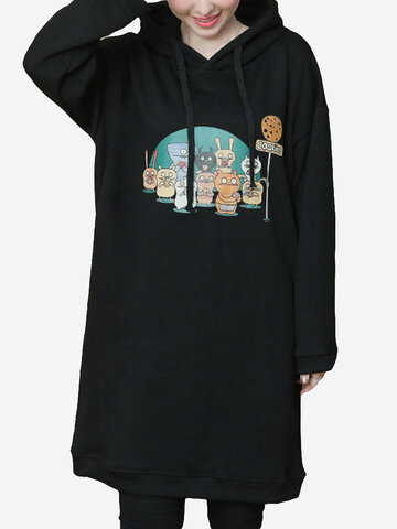 Printed Long Sleeve Hooded Long Sweatshirt, Black
