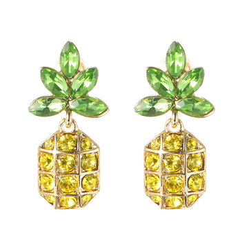 Crystal Pineapple 18K Gold Earrings