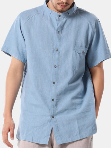 TWO-SIDED Big and Tall Mens Shirt Pure Color Short Sleeve Cotton Shirt With Chest Pocket
