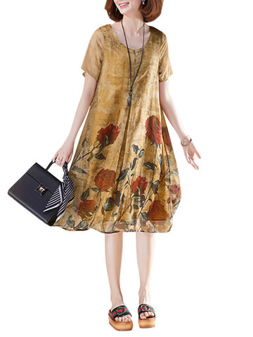 Floral Printed Chiffon Dresses