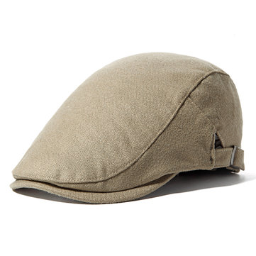 Vintage Cotton Solid Beret Hat For Men