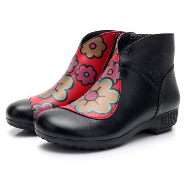 Botas de tornozelo quentes de couro genuíno