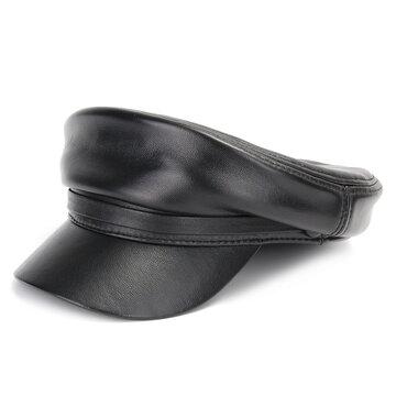 Chapeau de béret en cuir véritable pour hommes