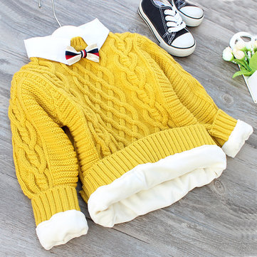 Boys Girls Thicken Sweater For 2Y-7Y, Yellow wine red navy blue blue