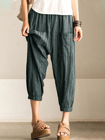 Pocket Stripe Women Harem Pants