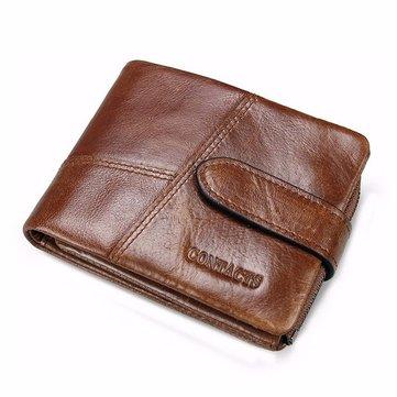 Men Genuine Leather Vintage Short Wallet 6 Card Slots Card Holder Coin Holder 3 Colors