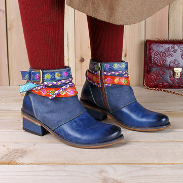 SOCOFY Retro Ankle Leather Boots