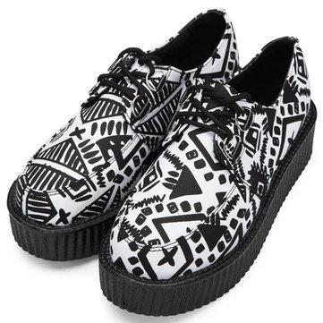 865161bfd40 Graffiti Pattern Fashion Pu Print Lace Up Platform Shoes