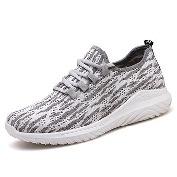 Männer Gestrickte Stoff Lace Up Sport Casual Sneakers