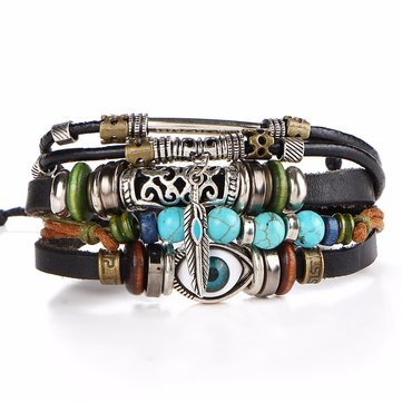 African Blue Eye Multi-Layer Bracelet