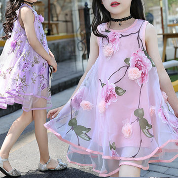 Flower Layered Girls Dresses For 6Y-15Y