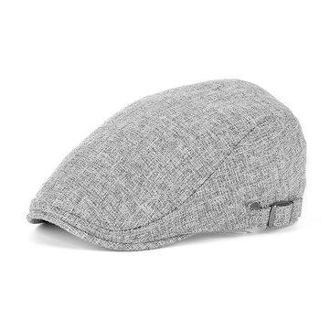 0fa97514cdb Men Women Linen Beret Hat Duckbill Ivy Cap Golf Driving Flat Cabbie Newsboy  Peaked Cap
