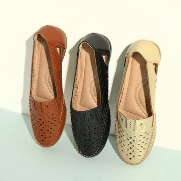 Hollow Leather Round Toe Flat Loafers
