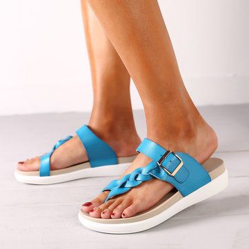 Socofy Leather Knitting Sandals