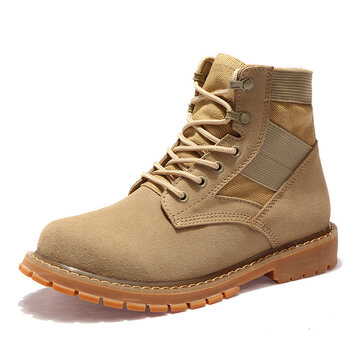 503abe805889 Large Size Men s Classic Nubuck Splicing Lace Up Outdoor Work Boots
