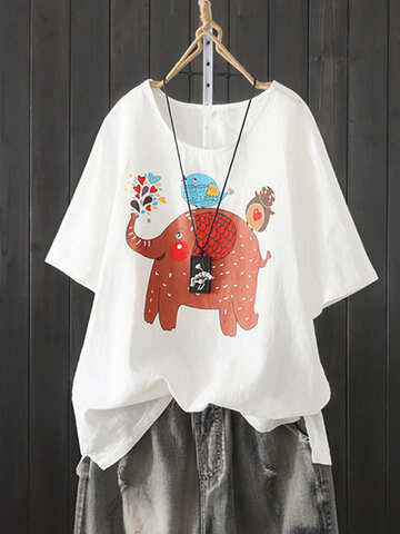 Cute Cartoon Print Irregular T-shirt