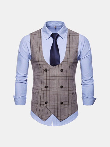 Plaid Printed Slim Fit Suit Vest
