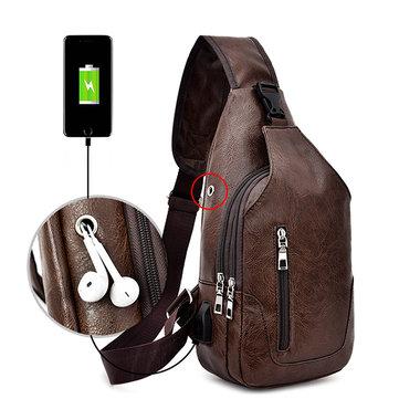 الرجال USB شحن حبال حقيبة عارضة بو الجلود حقيبة الصدر