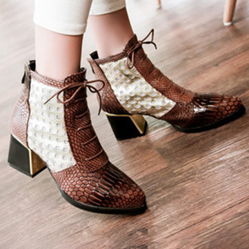 Snakeskin Patent Leather Hollow Square Heel Boots