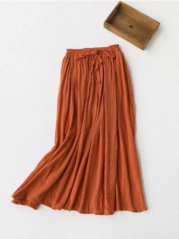Casual Pure Color Elastic Waist Skirts