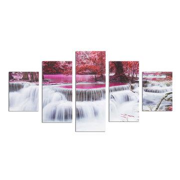 5Pcs bosque de la cascada de pintura de la pared de Frameless Wall Art Dormitorio Sala Decoración del hogar