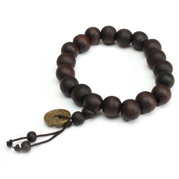 Braccialetto con Moneta e Perline di Legno di Stile Buddista e Tibetano