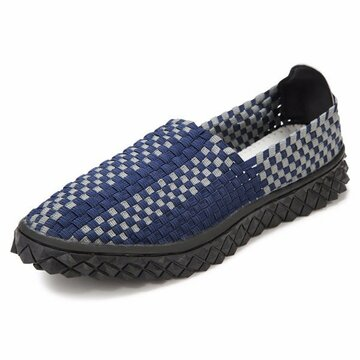 Men Handmade Knitting Weave Color Match Casual Sport Slip On Outdoor Shoes