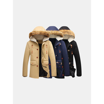 Plus Size Winter Casual Outdoor Thicken Warm Rib Cuff Fur Hooded Jacket for  Men 9b1771e9b