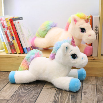 Cartoon Colorful Tail Unicorn Plush Pillow