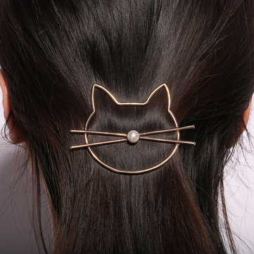 Lovely Hollow Cat Pearl Hairpin