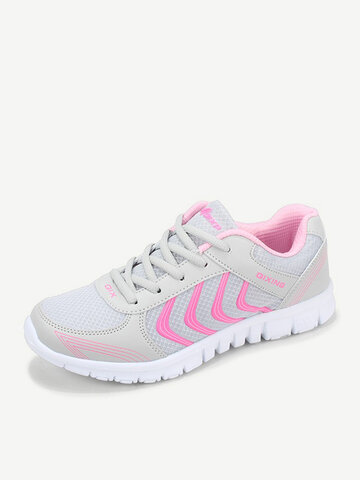 Big Size Casual Color Match Sport Breathable Mesh Lace Up Sneakers, Green blue rose lake blue pink white