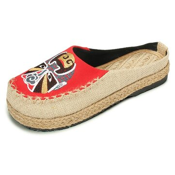 Theatrical Mask Flax National Wind Open Heel Slip On Flat Loafers