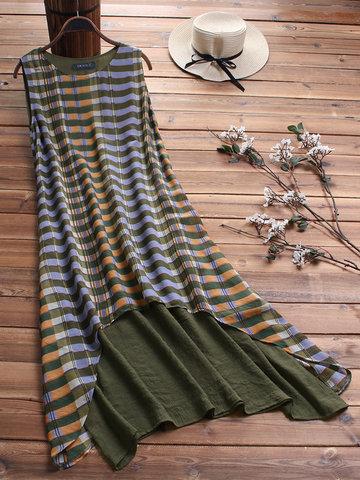 Vintage Print Striped Dress