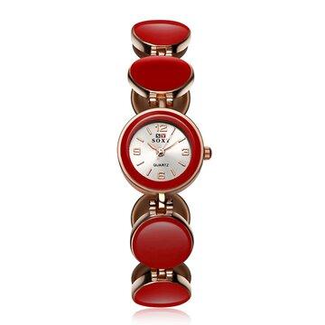 SOXY Luxury Women Wristwatch, White pink black