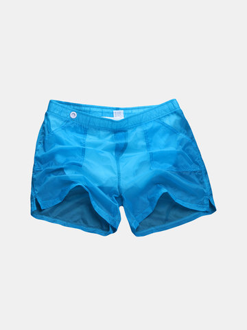 Transparent Solid Color Swim Short