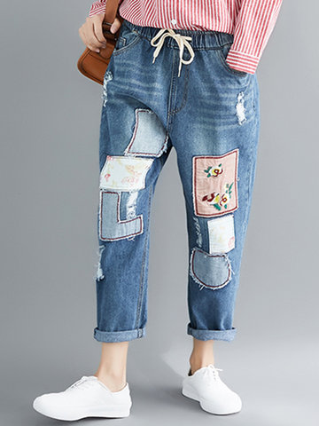 Casual Embroidered Denim Pants