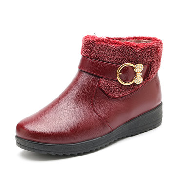 Buckle Meta Flat Boots, Red black brown