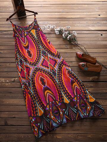Bohemian Printed Vest Maxi Dresses