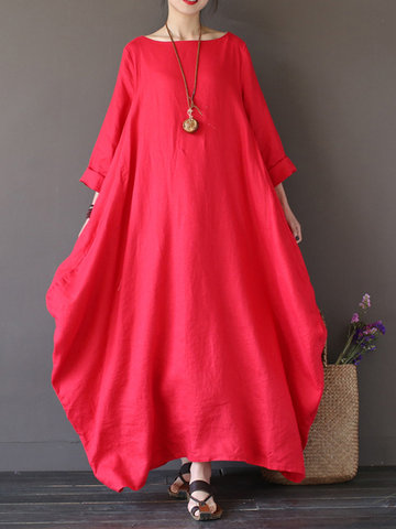 Vintage Women Solid Loose Maxi Dress