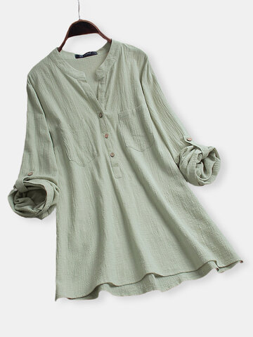 V-neck Long Sleeve Casual Blouse