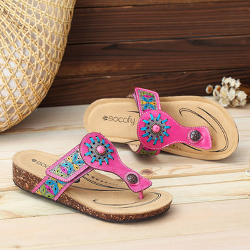 SOCOFY Casual Slip On Soft Flat Leather Sandals