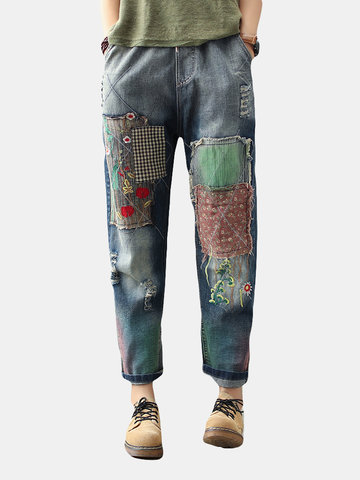 Remendo Bordado Vintage Harem Denim