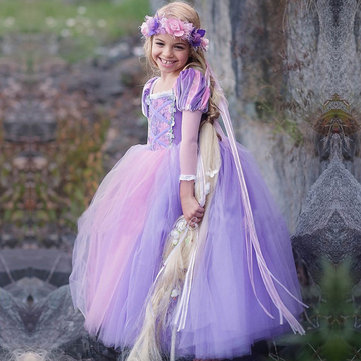 d43c864911 Purple Kids Girls Princess Costume Dress Up Tulle Fancy Halloween Costume  For Girls Cosplay Clothing