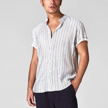 Chemises à manches courtes en lin et coton à rayures pour hommes