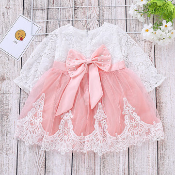 Bow-Knot Patch Girls Lace Dress For 1-7Y