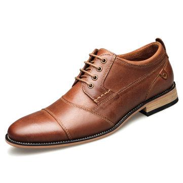 Zapatos de vestir formales de negocios de cuero genuino para hombres