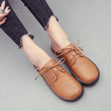 Lace Up Retro Soft Sole Casual Shoes, Black brown white