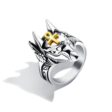 Punk Cross Anubis Finger Rings